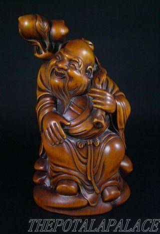 Old Chinese 19thc Boxwood Carved Statue God Of Shou (longevity) photo