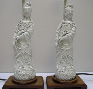 Antique Chinese Blanc De Chine Figures Guanyin Lamps photo