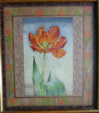 Painting Of A Tulip With Text And Mabling Borders photo