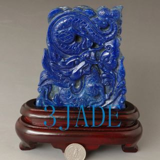 Natural Lapis Lazuli Gemstone Dragon Statue / Carving / Sculpture photo