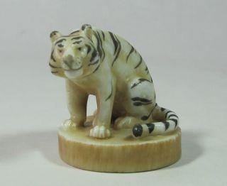 Antique Japanese Okimono Tiger Miniature Art Sculpture Signed photo