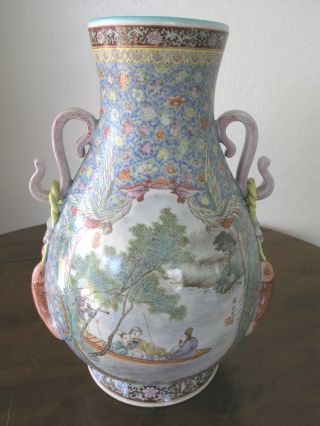 Antique Chinese Famille Rose Vase Large 19th / Early 20th C Unusual Signature photo