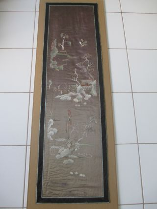 Chinese Antique Embroidered Silk Showing A Landscape Description photo
