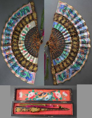 19th Century Cantonese Chinese Fan Lacquered As Tortoishell Gilt Ox Bone Boxed photo