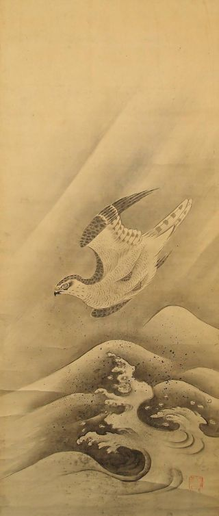5932 Japanese Hanging Scroll: Hawk & The Wave photo