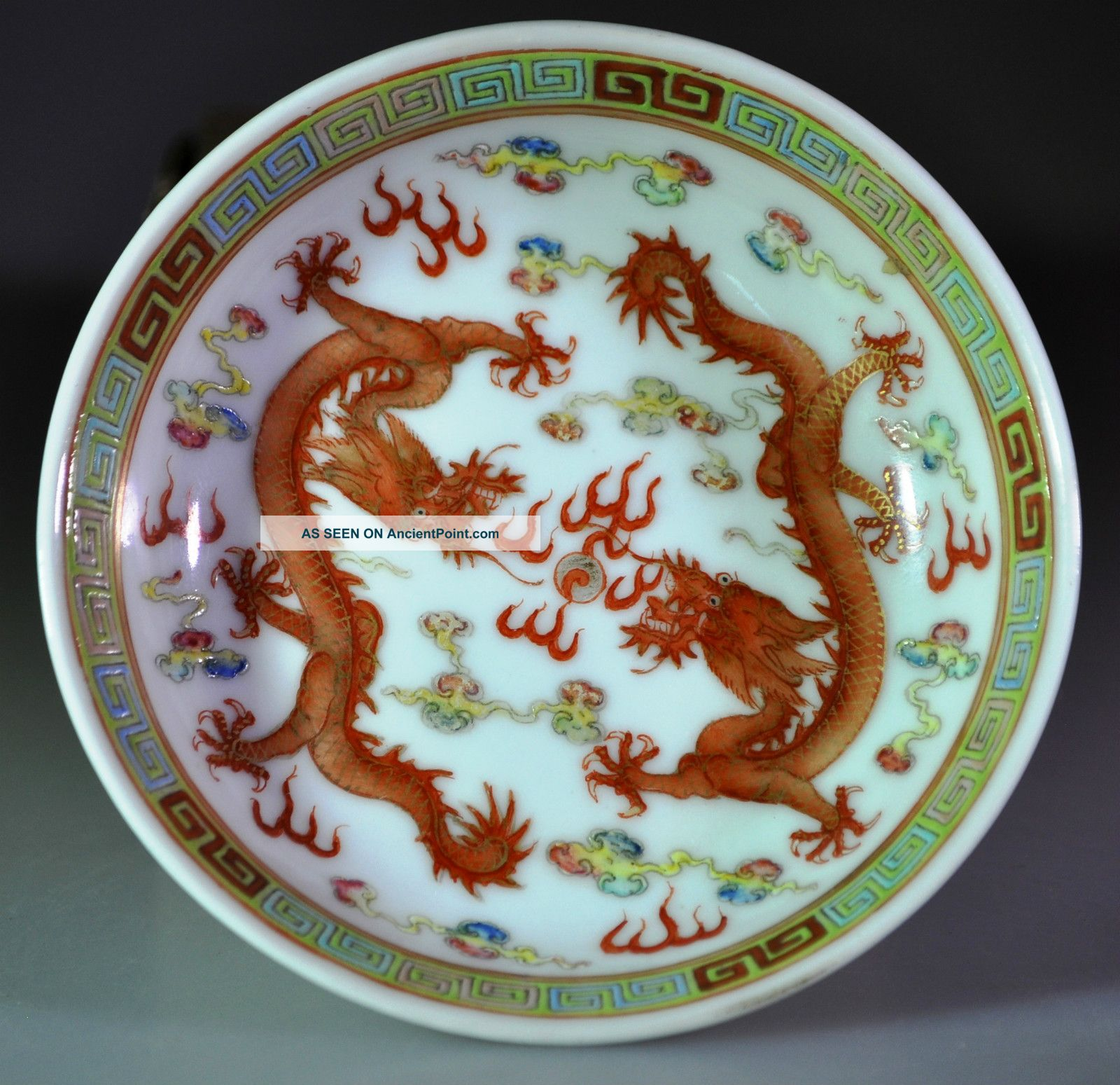 & 19th Century Antique Chinese Porcelain Plate Double Dragon Guangxu Mark