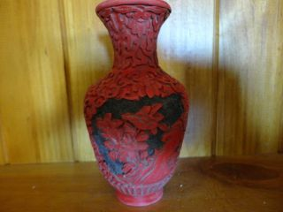 Old Red Chinese Lacquer Vase photo