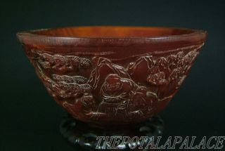 Old Chinese Ox Horn Carved Bowl~figures Live Under Pine Tree~symbol Of Longevity photo