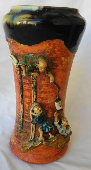 Antique Japanese Meiji Sumida Gawa Artist Signed Trumpet Vase photo