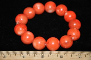 Antique Chinese Natural Red Coral Beads Bracelet photo
