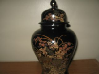 Antique Black And Gold Chinese Painted Vase Marked Gold photo