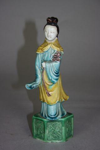 Chinese Sancai Porcelain Enameled Statue Of Beauty photo