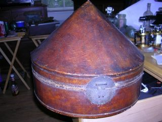 Antique Chinese Leather Hat Travel Box Case Whith Hat And Sales Slip Qing photo