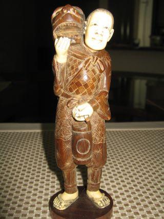 Estate Sale Rare Found Vintage Japanese Okimono Statue Wood W/ox Bone 6