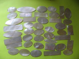 42 Chinese,  Mother Of Pearl Gaming Counters,  Tokens,  Chips.  Nacra.  M.  O.  P Counters photo