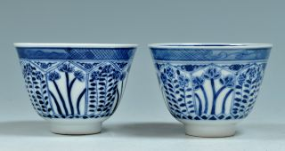 A Pefect Set Antique 19th C Chinese Porcelain Blue And White Export Cups Kangxi photo