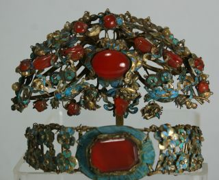 Exquisite Antique Chinese Kingfisher Feather Carnelian Jeweled Hair Ornaments photo