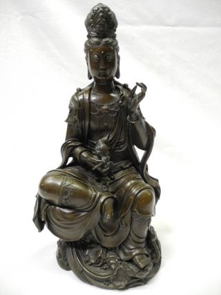 Antique Chinese Bronze Seated Kwan Yin Estate Found No/reserve photo