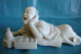 Japanese Carved Bone Faux Ivory Okimono Man 19c Circa 1870 photo
