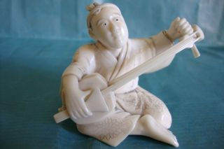Japanese Carved Bone Faux Ivory Okimono Musician 19c Circa 1870 photo