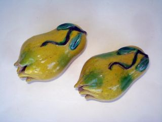Pair Antique Chinese Porcelain Glazed Fruit Finger Citrons 19th C Qing photo