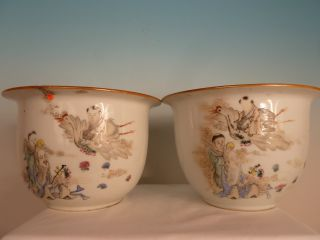 A Very Rare Pair Of Chinese Polychrome Jardinières photo