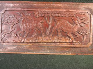 150 Year Old Antique Chinese Elm Wood Deer Carving photo