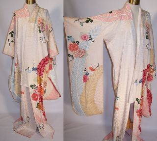 Vintage Japanese Geisha Silk Screen Pastel Floral Shibori Leaf Furisode Kimono photo