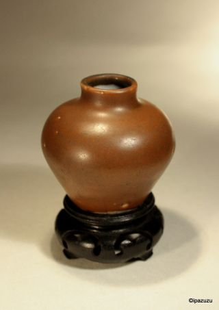 Antique Chinese Ming Dynasty Vase Jarlet Rich Brown Glaze 1368 - 1644 photo