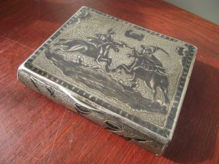 Antique Russian Hallmark Niello Silver Cigarette Box - Ottoman Cavalry - Gubkin? photo
