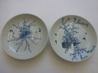 Antique Chinese Porcelain - Pair Of Qing Hua Dish Late Qing Dinasty photo