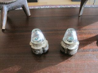 Chinese Opium Lamps.  Matched Pair White Metal And Etched Glass photo