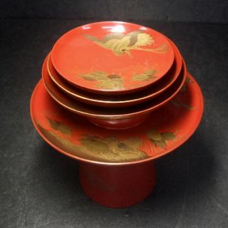 F166: Japanese Old Lacquer Ware 3 Sake Cups With Stand With Very Good Makie 2 photo