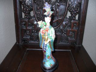 Chinese Qing Dynasty Antique Cloisonne Geisha Lady Figurine Statue photo