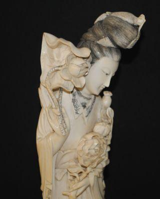 Antique Chinese Carved Ox Bone Kwan Yin Buddha Figure Figurine Flowers photo