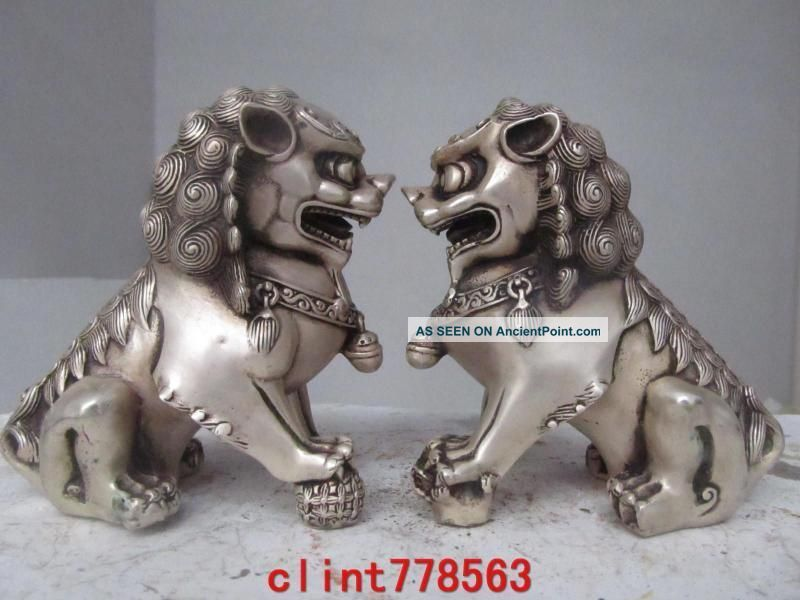 China Classical Silver Palace Guardian Evil Door Foo Dog Fu Lion Kylin Pair 8757 Reproductions photo