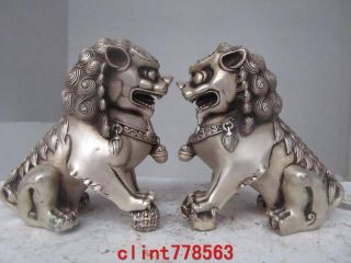 China Classical Silver Palace Guardian Evil Door Foo Dog Fu Lion Kylin Pair 8757 photo