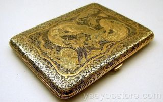 Old Japanese Silver Inlaid Komai Dragon Cigarette/card Case photo