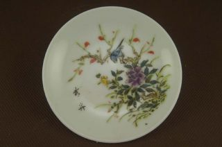 Fine Chinese Pastel Porcelain Flowers&birds Plate photo