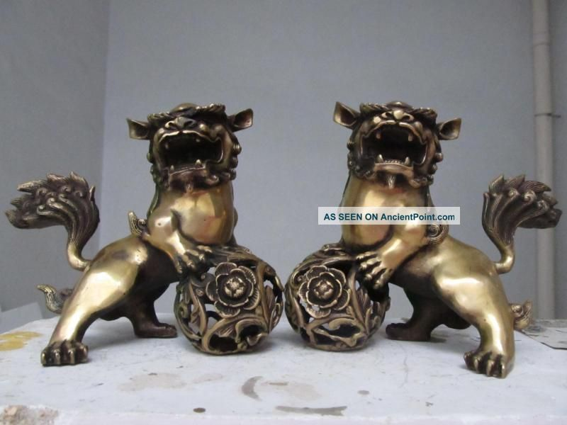 China Classic Imperial Family Favorites Brass Foo Dog Lion The Pair 270 Reproductions photo