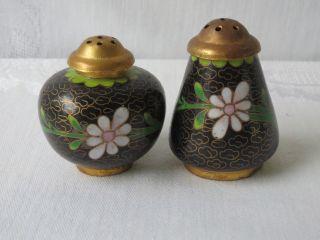 Antique Chinese Cloisonne Enamel Brass Salt & Pepper Shaker Set Nr photo