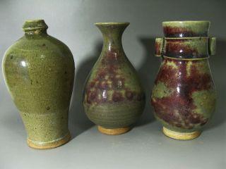 Rare Three Chinese Jun Kiln Porcelain Vases photo