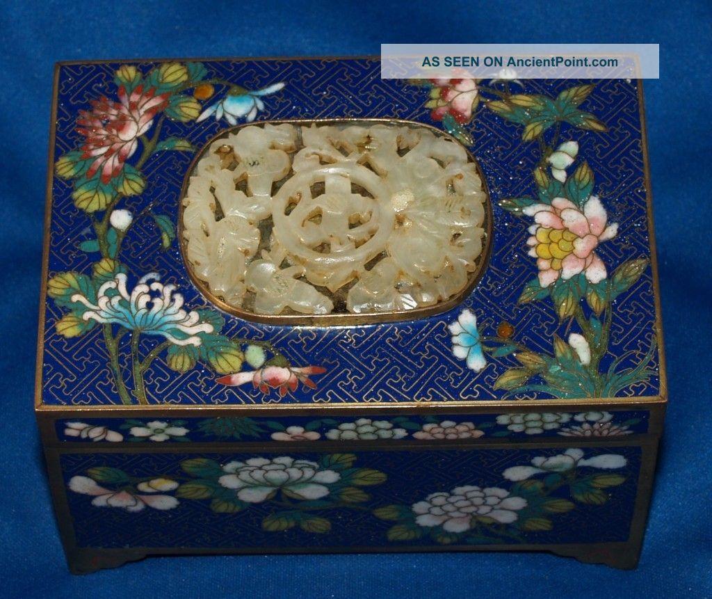 Fine Antique Chinese Cloisonne Box Jade Insert Boxes photo