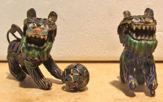 Pair Vintage Chinese Cloisonne Fu Foo Dogs Very Small 2