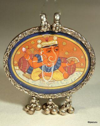 Antique Indian Miniature Painting Ganesha Silver Mounted Pendant photo