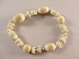 Carved Cow Bone Antique Bracelet.  Elephants.  C1900 photo