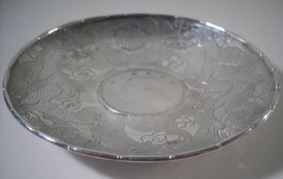 A Chinese Silver Dish With Inset Coin & Engraved Decoration : China C1900 photo