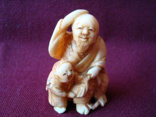 Fine Antique Japanese Ox - Bone Netsuke Man And A Boy Signed photo