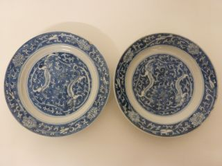 Antique Chinese Porcelain - Pair Of Qing Hua Dishes Qing Dinasty photo