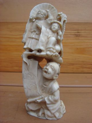 Antique 19c Ox Bone Asian Chinese Signed Statue photo